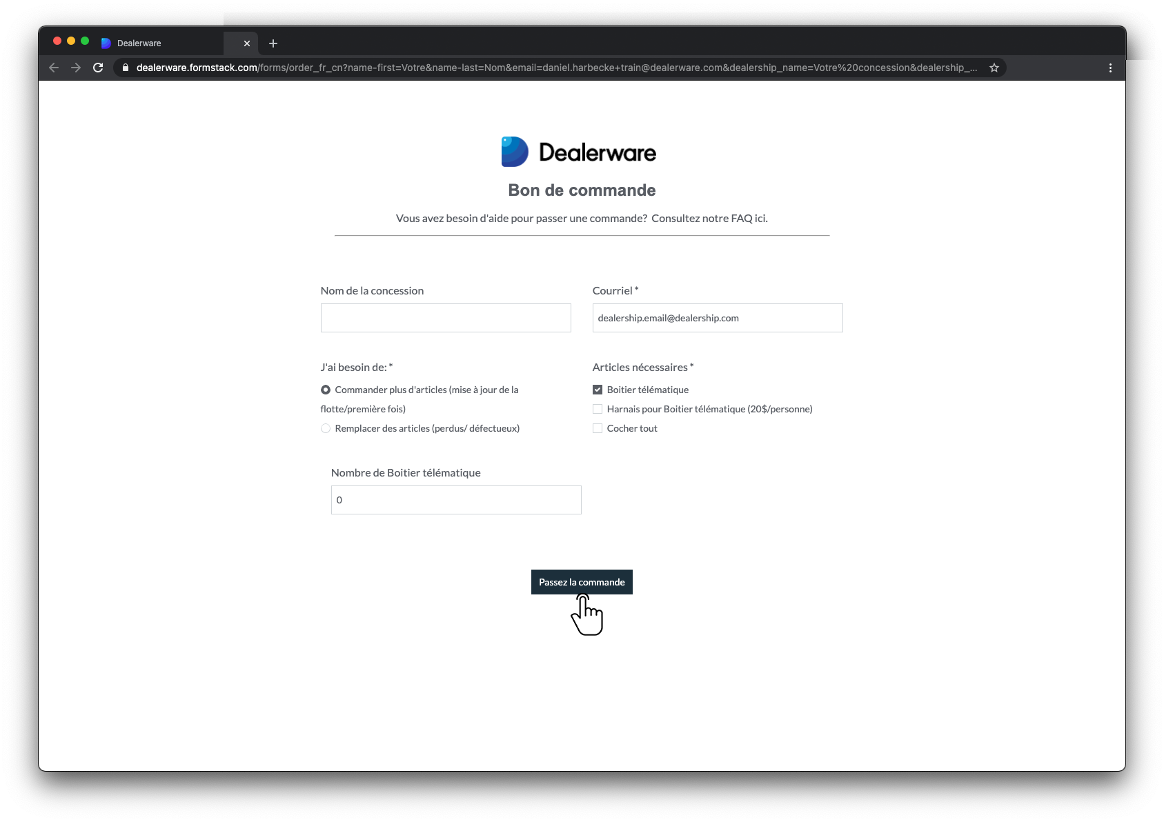 Image2: Écran Bon de commande de Dealerware, icône de doigt positionnée sur le bouton Passer une commande