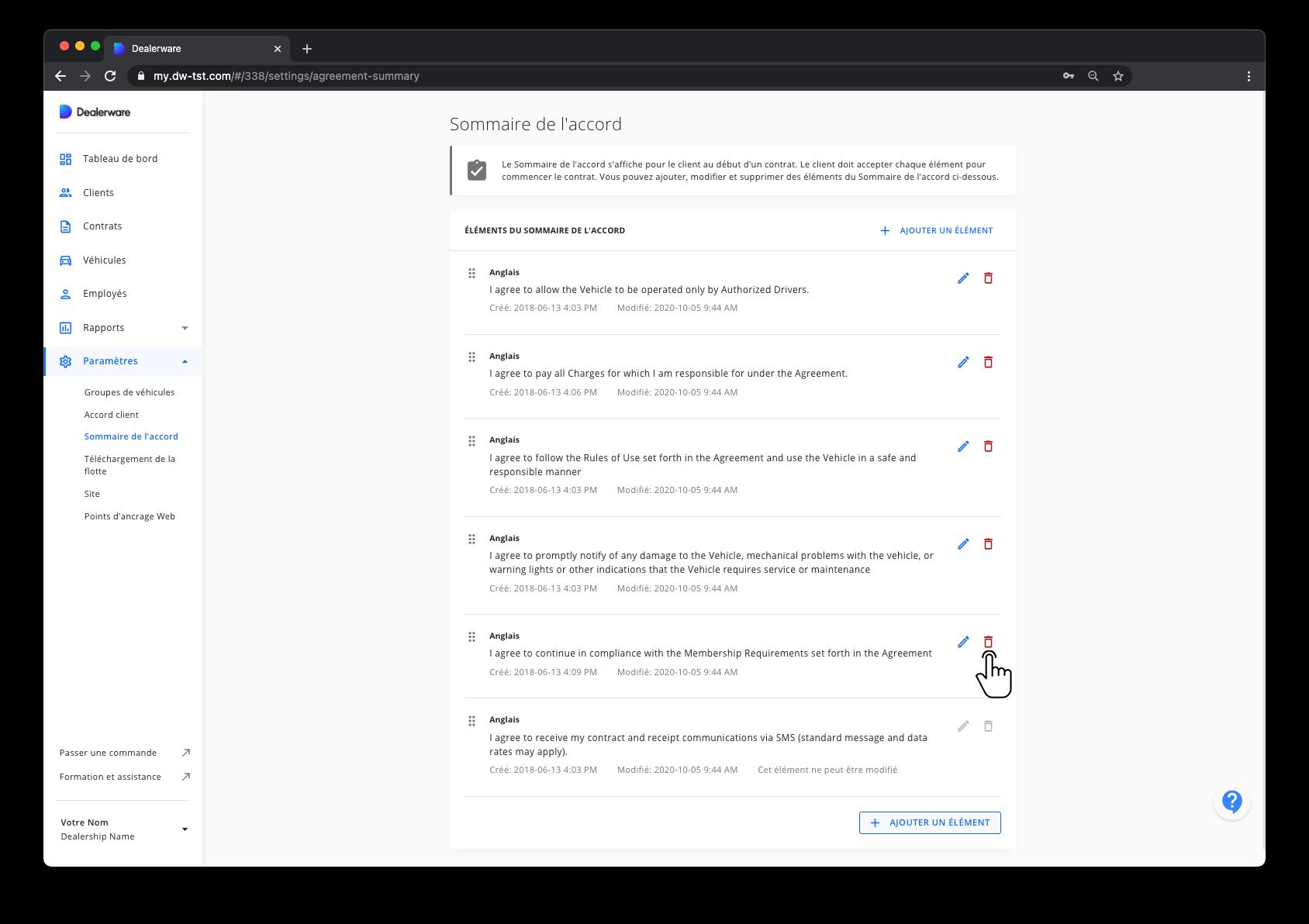 Image2: Sommaire de l'accord et menu principal Dealerware, icône de doigt positionnée sur l'icône de poubelle pour une clause d'accord