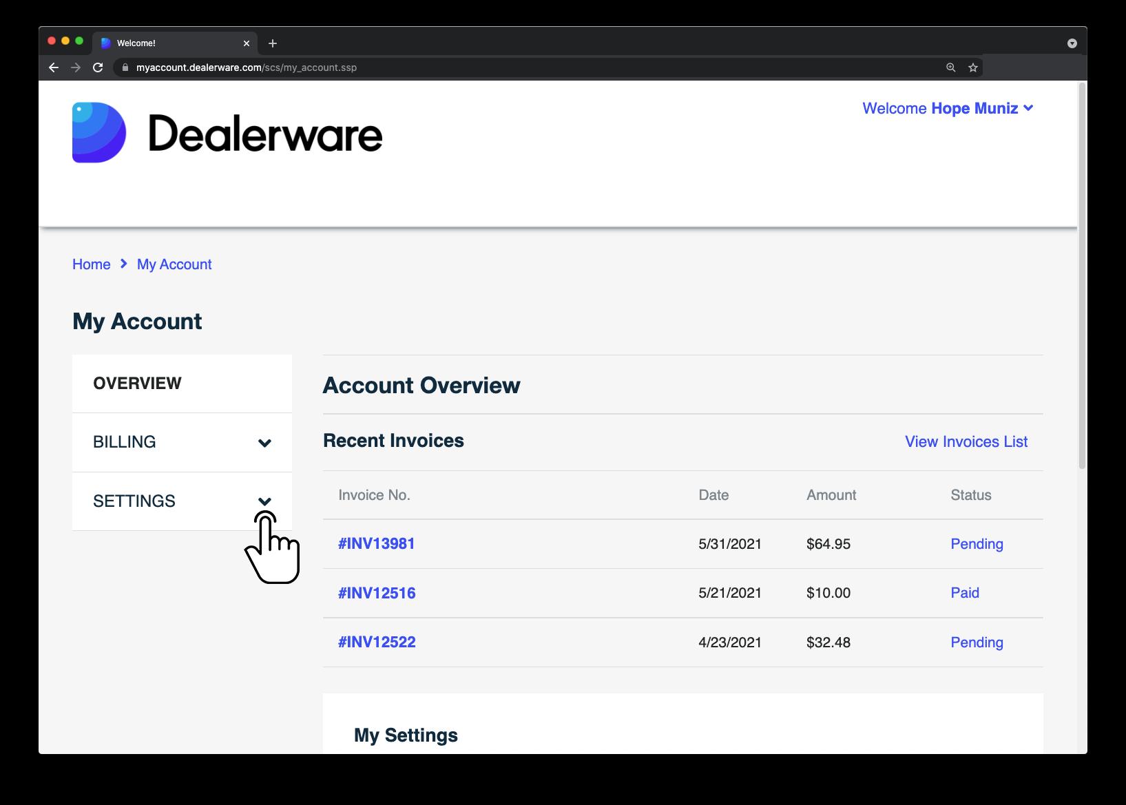 Image1: Écran MonCompte de Dealerware, icône de doigt positionnée sur l'option Paramètres dans le menu déroulant Aperçu
