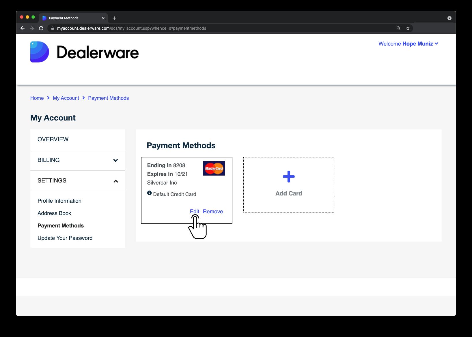 Image7: Écran MonCompte de Dealerware, icône de doigt positionnée sur le bouton Modifier dans l'écran Méthodes de paiement