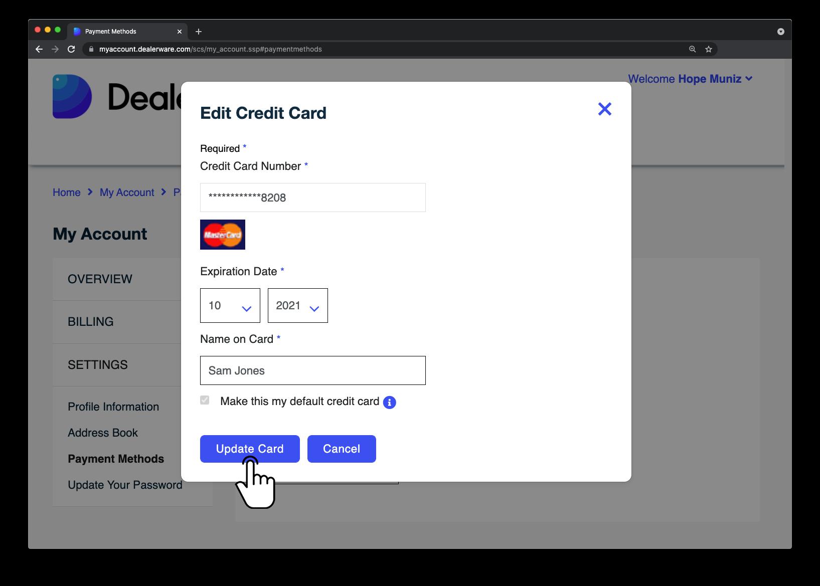 Image8: Écran MonCompte de Dealerware, icône de doigt positionnée sur le bouton Mettre la carte à jour dans la fenêtre contextuelle Modifier une carte de crédit