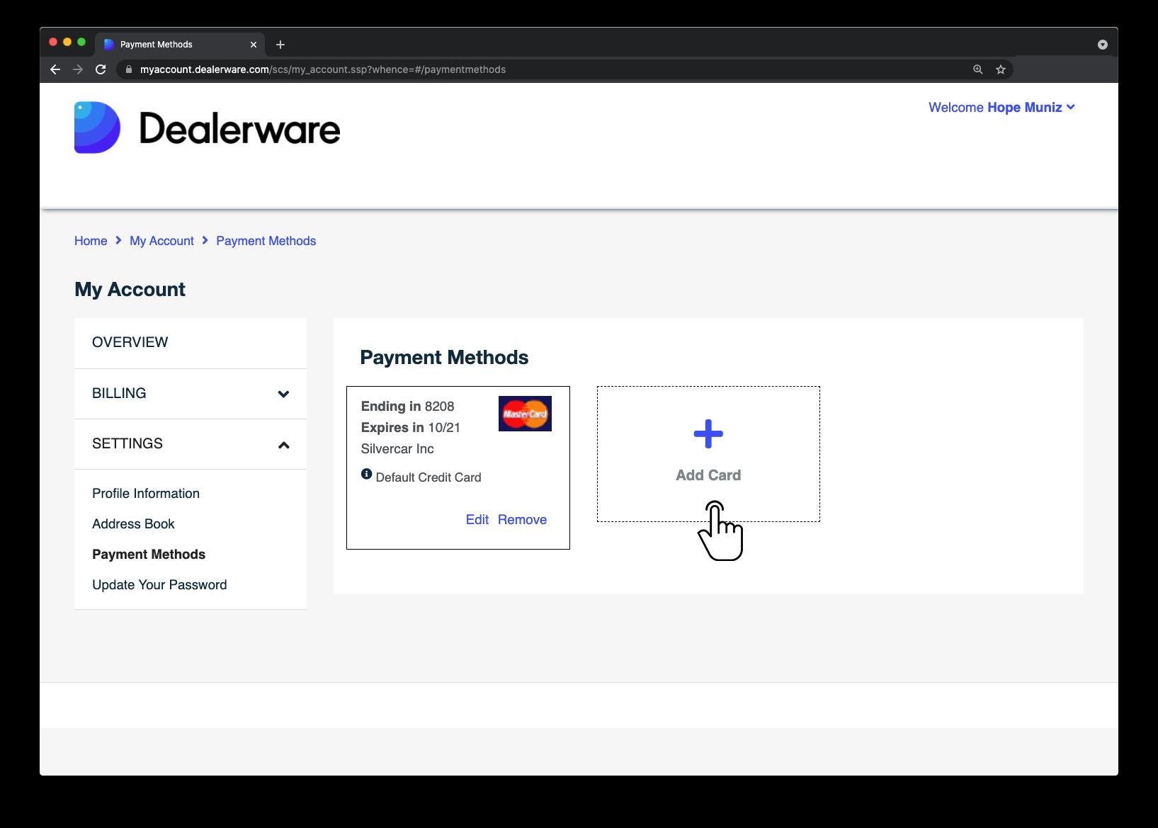 Image3: Écran MonCompte de Dealerware, icône de doigt positionnée sur la zone Ajouter une carte de l'écran Méthodes de paiement