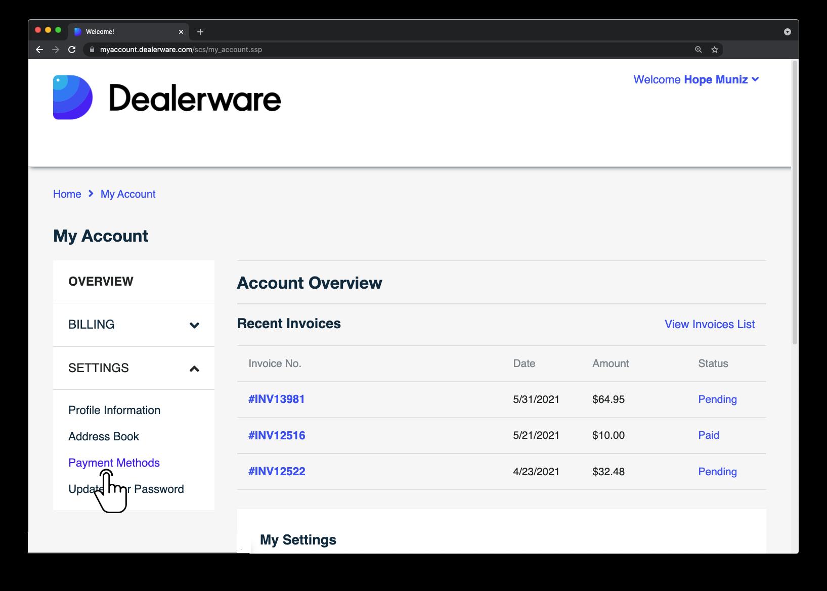 Image6: Écran MonCompte de Dealerware, icône de doigt positionnée sur l'option Méthodes de paiement sous l'option Paramètres dans le menu déroulant Aperçu