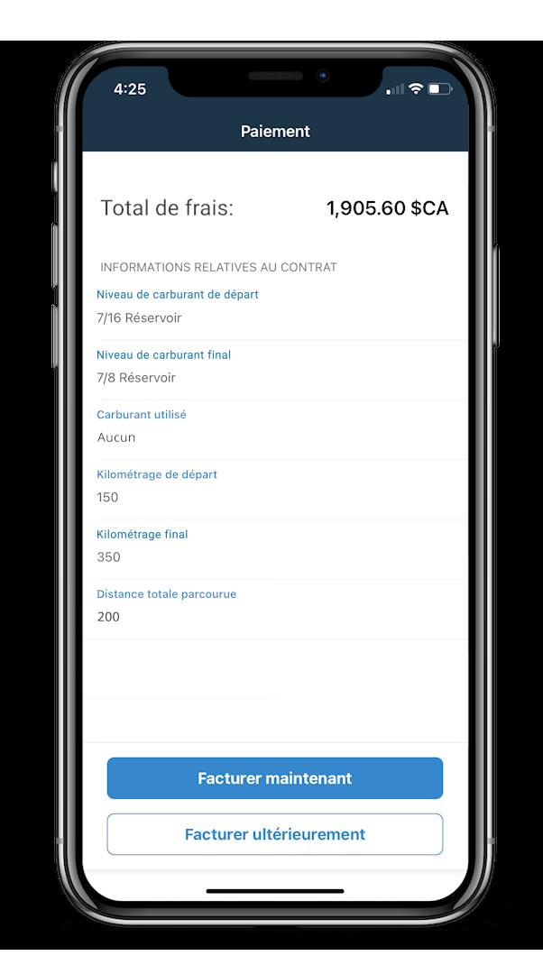 Image: Écran de paiement mobile de Dealerware, vue par défaut